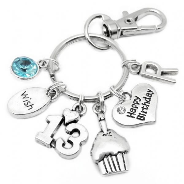 13th Happy Birthday Cake Keyring Personalised Gift For 13 Year Old
